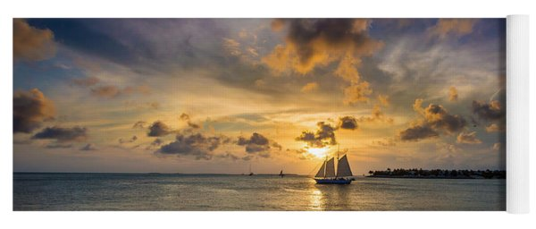 Key West Florida Sunset Mallory Square Yoga Mat