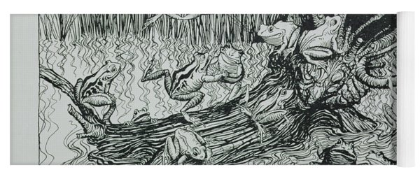 King Log, Illustration From Aesops Fables, Published By Heinemann, 1912 Engraving Yoga Mat