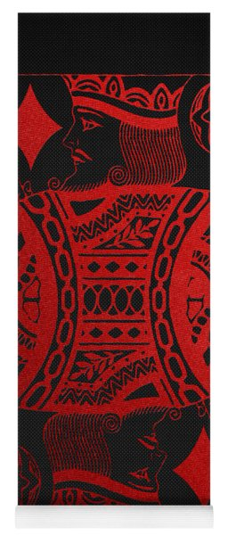 King Of Diamonds In Red On Black Canvas   Yoga Mat