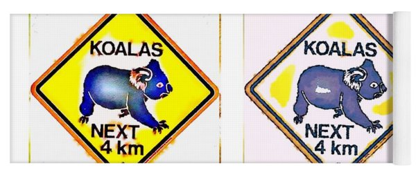 Koalas Road Sign Pop Art Yoga Mat