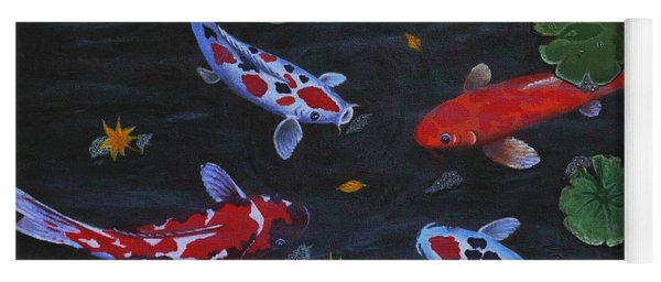 Koi Fishes Original Acrylic Painting Yoga Mat