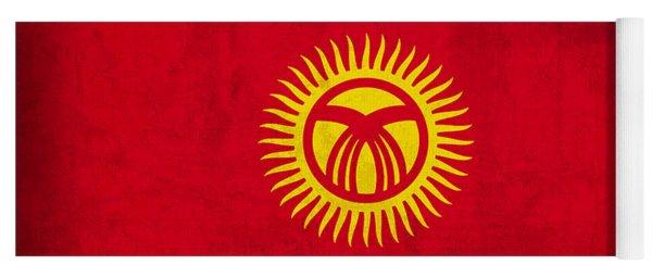 Kyrgyzstan Flag Vintage Distressed Finish Yoga Mat