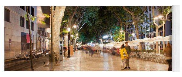 La Rambla At Night  In Barcelona Yoga Mat