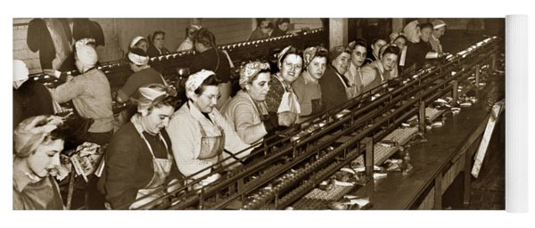 Ladies Packing Sardines In One Pound Oval Cans In One Of The Over 20 Cannery's Circa 1948 Yoga Mat