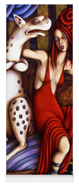 Yoga Mat featuring the painting Lady In Red by Valerie White
