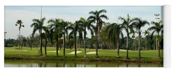 Lake Sand Traps Palm Trees And Golf Course Singapore Yoga Mat