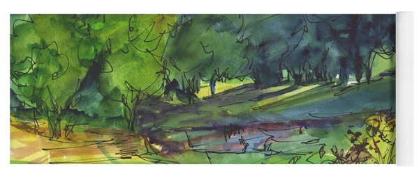 Landscape Lakeway Texas Watercolor Painting By Kmcelwaine Yoga Mat