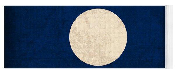 Laos Flag Vintage Distressed Finish Yoga Mat
