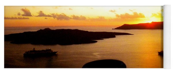 Yoga Mat featuring the photograph Late Sunset Santorini  Island Greece by Colette V Hera  Guggenheim