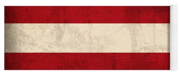 Latvia Flag Vintage Distressed Finish Yoga Mat