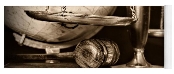 Lawyer The Scales Of Justice In Black And White Yoga Mat