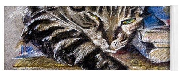 Lazy Cat Portrait - Drawing Yoga Mat