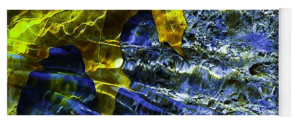 Leaf In Creek - Blue Abstract Yoga Mat