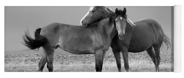 Lean On Me B And W Wild Mustang Yoga Mat