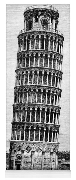 Leaning Tower Of Pisa 1870 Drawing Yoga Mat