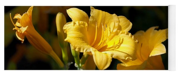Lemon Yellow Daylilies Yoga Mat