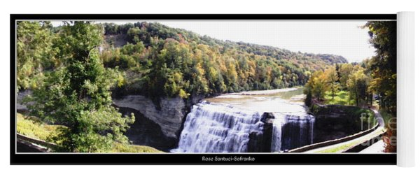 Yoga Mat featuring the photograph Letchworth State Park Middle Falls Panorama by Rose Santuci-Sofranko