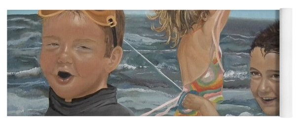 Yoga Mat featuring the painting Beach - Children Playing - Kite by Jan Dappen