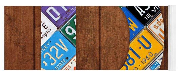 Letter D Alphabet Vintage License Plate Art Yoga Mat