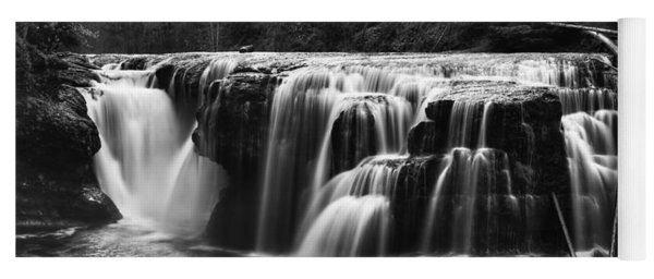 Lewis River Lower Falls Black And White Yoga Mat