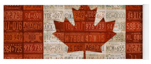 License Plate Art Flag Of Canada Yoga Mat