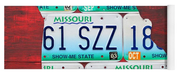 License Plate Map Of Missouri - Show Me State - By Design Turnpike Yoga Mat