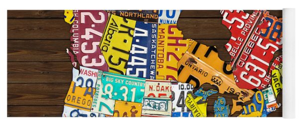 License Plate Map Of North America - Canada And United States Yoga Mat
