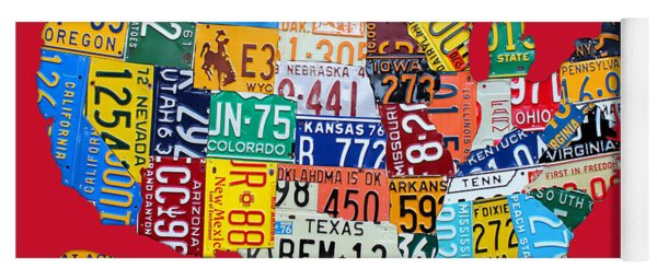 License Plate Map Of The United States On Bright Red Yoga Mat