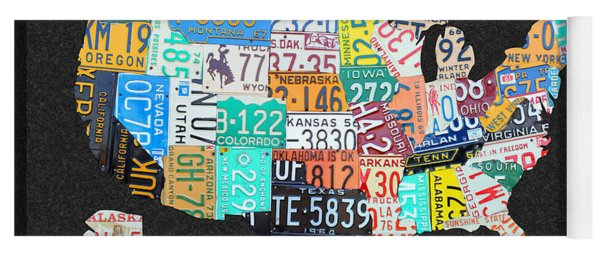 License Plate Map Of The United States On Gray Felt With Black Box Frame Edition 14 Yoga Mat