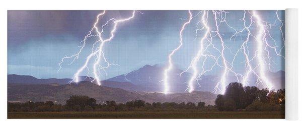 Lightning Striking Longs Peak Foothills 4c Yoga Mat