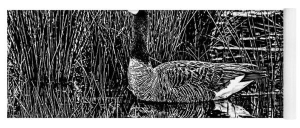 Lila Goose The Pond Queen Hdr Grass Art Bw Yoga Mat