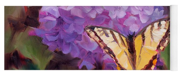 Lilacs And Swallowtail Butterfly Purple Flowers Garden Decor Painting  Yoga Mat