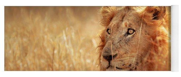 Lion In Grass Yoga Mat