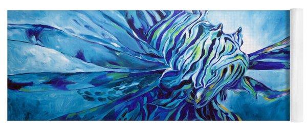 Lionfish Abstract Blue Yoga Mat
