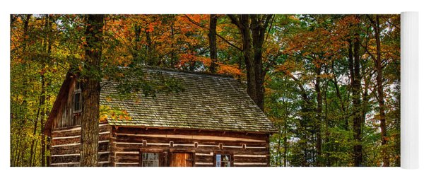 Log Cabin In Autumn Color Yoga Mat