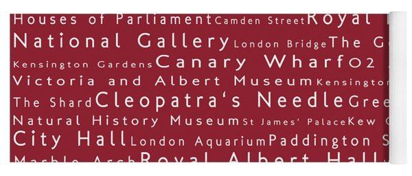 London In Words Red Yoga Mat