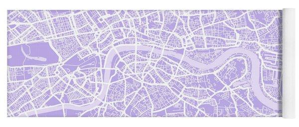 London Map Lilac Yoga Mat