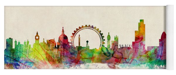 London Skyline Watercolour Yoga Mat