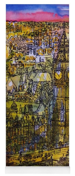 London, Westminster Pen & Ink With Wc On Paper Yoga Mat