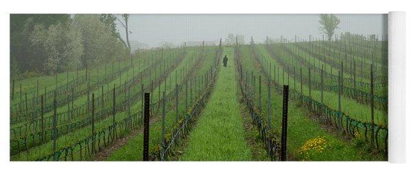 Lone Figure In Vineyard In The Rain On The Mission Peninsula Michigan Yoga Mat