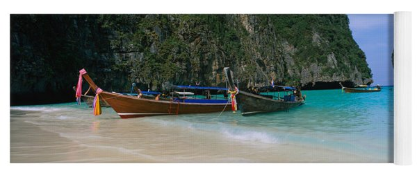 Longtail Boats Moored On The Beach, Ton Yoga Mat