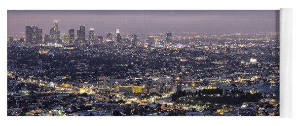 Los Angeles At Night From The Griffith Park Observatory Yoga Mat