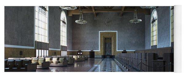 Yoga Mat featuring the photograph Los Angeles Union Station Original Ticket Lobby by Belinda Greb