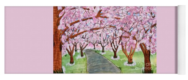 Lost In Pink Cherry Trees Art Yoga Mat