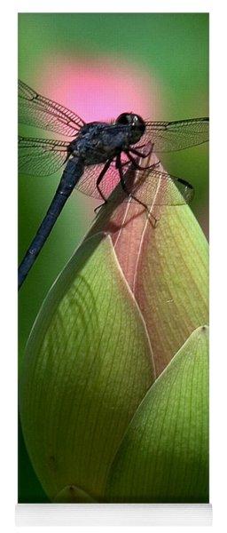Lotus Bud And Slatey Skimmer Dragonfly Dl006 Yoga Mat
