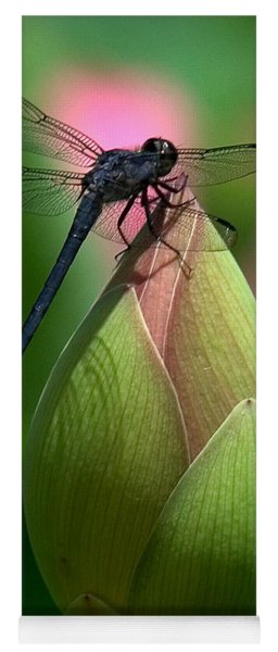 Lotus Bud And Slatey Skimmer Dragonfly Dl006 Yoga Mat