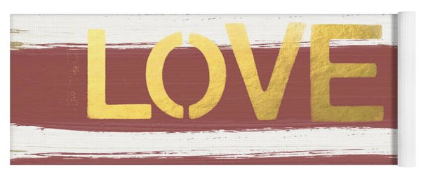 Love In Gold And Marsala Yoga Mat