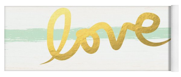 Love In Mint And Gold Yoga Mat