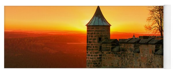 Low Sun On The Fortress Koenigstein Yoga Mat