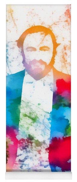 Luciano Pavarotti Paint Splatter Yoga Mat